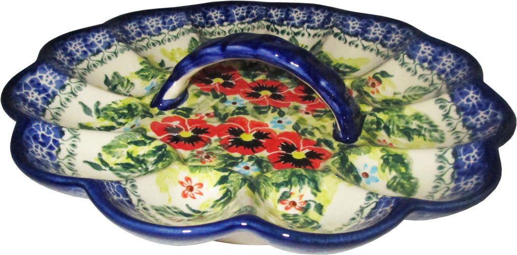 "Boleslawiec Polish Pottery UNIKAT Egg Serving Plate ""Summer Day"""