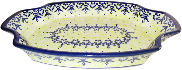 "Boleslawiec Polish Pottery Large Fancy Platter ""Lace"""