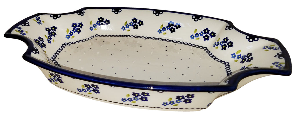 "Boleslawiec Polish Pottery UNIKAT Fancy Serving Platter ""Forget Me Not"""