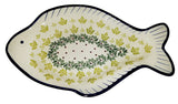 "Boleslawiec Polish Pottery UNIKAT Fish Shaped Serving Platter ""Vermont"""