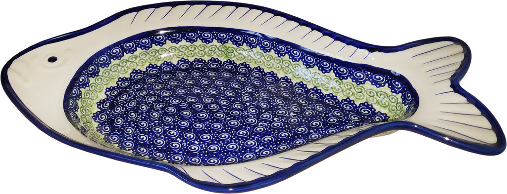 "Boleslawiec Polish Pottery UNIKAT Fish Shaped Serving Platter ""Alex"""
