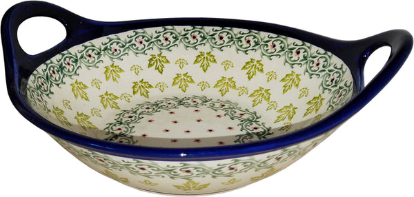 "Boleslawiec Polish Pottery UNIKAT Large Bowl with Handles ""Vermont"""