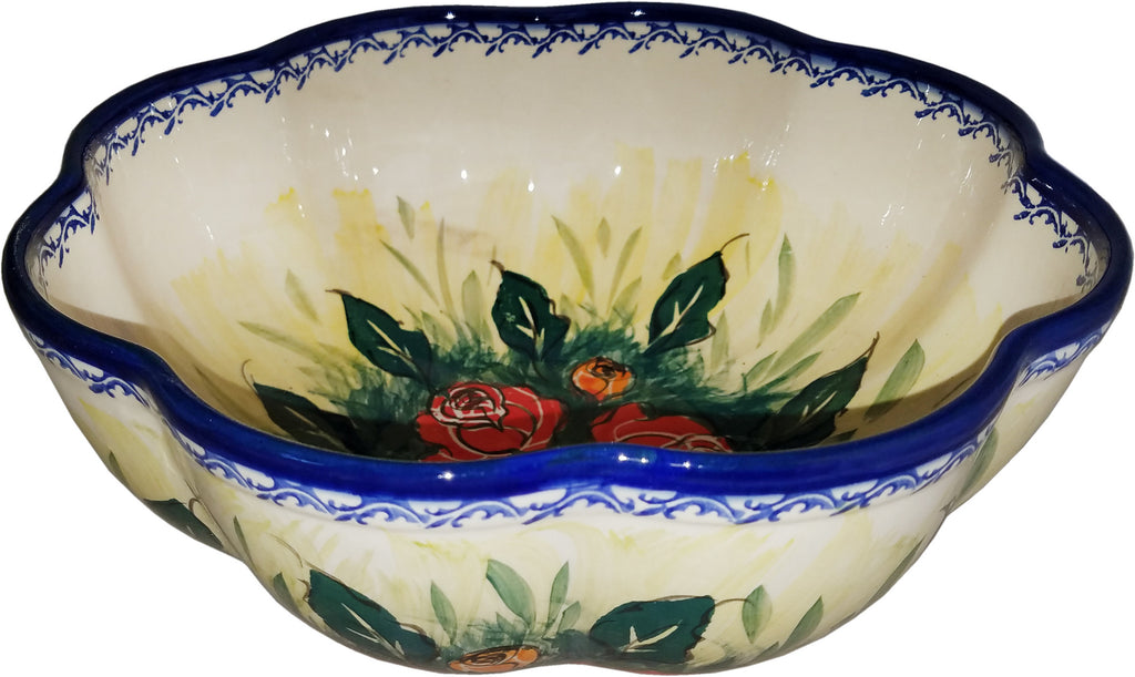 "Boleslawiec Stoneware Polish Pottery UNIKAT XLarge Scalloped Bowl ""Rose Garden"""