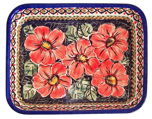 "Boleslawiec Polish Pottery UNIKAT Medium Rectangular Lasagna Baker ""Red Garden"""