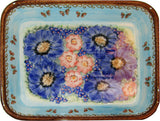 "Boleslawiec Polish Pottery UNIKAT Large Rectangular Lasagna Baker ""Blue Sky Meadow"""