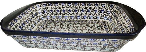 "Boleslawiec Polish Pottery UNIKAT Lasagna Rectangular Baker or Serving Dish ""Martina"""