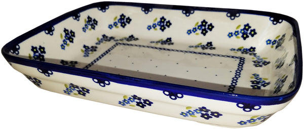 "Boleslawiec Polish Pottery UNIKAT Small Lasagna Rectangular Baker ""Forget Me Not"""