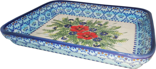"Boleslawiec Polish Pottery UNIKAT Medium Rectangular Lasagna Baker ""Veronica"""