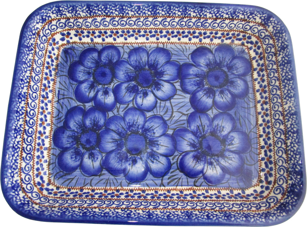 "Boleslawiec Polish Pottery UNIKAT Medium Rectangular Lasagna Baker ""Blue Garden"""