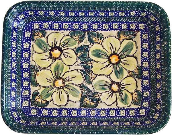 "Boleslawiec Polish Pottery UNIKAT Medium Rectangular Lasagna Baker ""Green Garden"""