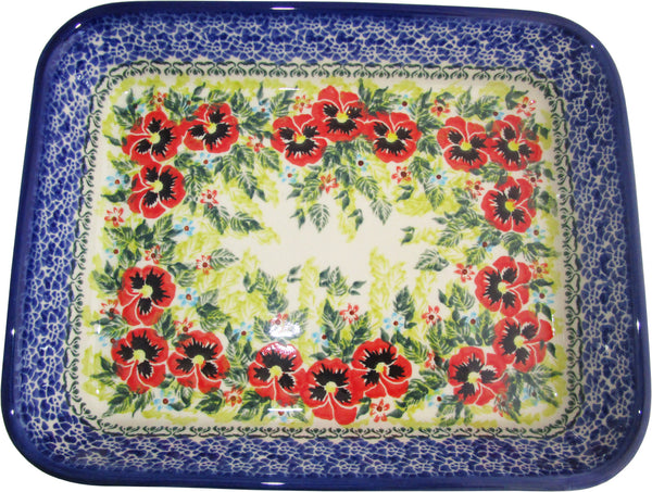 "Boleslawiec Polish Pottery UNIKAT Medium Rectangular Lasagna Baker ""Summer Day"""