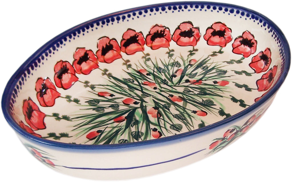 "Boleslawiec Polish Pottery UNIKAT Large Oval Baker ""Poppy Field"""