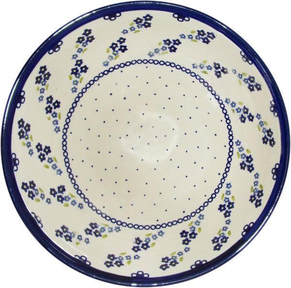 "Boleslawiec Polish Pottery UNIKAT Extra Large Serving Bowl ""Forget Me Not"""