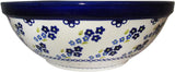 "Boleslawiec Polish Pottery UNIKAT Large Serving or Mixing Bowl ""Forget Me Not"""