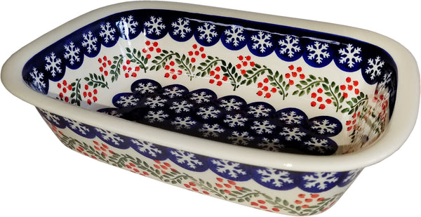 "Boleslawiec Polish Pottery 10"" Loaf Baker ""Red Berries"""