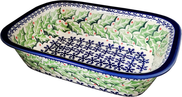 "Boleslawiec Polish Pottery 10"" Loaf Baker ""Holly"""