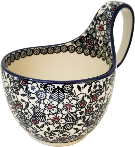 Boleslawiec Polish Pottery Bowl with Loop Handle Unikat 4783