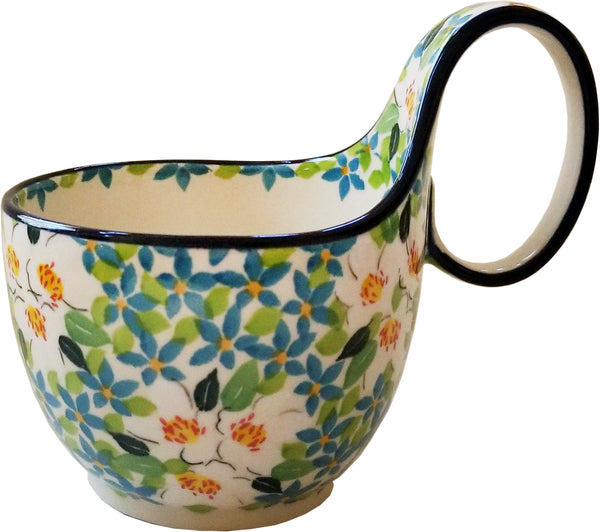 Boleslawiec Polish Pottery Bowl with Loop Handle Unikat 4902