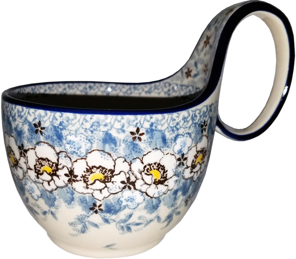Boleslawiec Polish Pottery Bowl with Loop Handle Unikat 4814