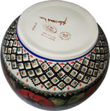 "Boleslawiec Polish Pottery Unikat Large Mixing or Serving Bowl ""Red Garden"""