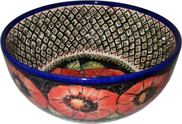 "Boleslawiec Polish Pottery Unikat Mixing or Serving Bowl ""Red Garden"""