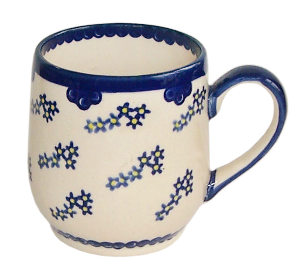 "Boleslawiec Polish Pottery UNIKAT 10 Oz Coffee or Tea Ladies Mug ""Forget Me Not"""""