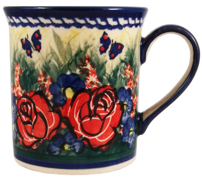 "Boleslawiec Polish Pottery UNIKAT Coffee or Tea Mug ""Wild Roses"""