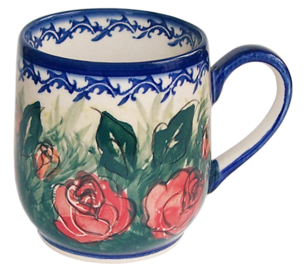 "Boleslawiec Polish Pottery UNIKAT Ladies Mug 10 Oz ""Rose Garden"""