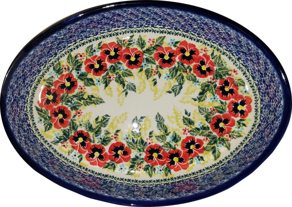 "Boleslawiec Polish Pottery UNIKAT Large Oval Baker ""Summer Day"""