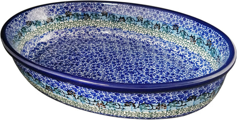 Boleslawiec Polish Pottery UNIKAT Oval Serving Dish and Serving Platter 1647