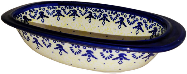 "Boleslawiec Polish Pottery UNIKAT Small Oval Baking Dish ""Lace"""