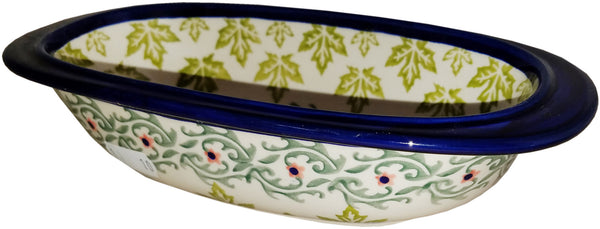 "Boleslawiec Polish Pottery UNIKAT Small Oval Baking or Serving Dish ""Vermont"""