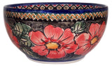 "Boleslawiec Polish Pottery UNIKAT Pasta or Soup Serving Bowl ""Red Garden"""