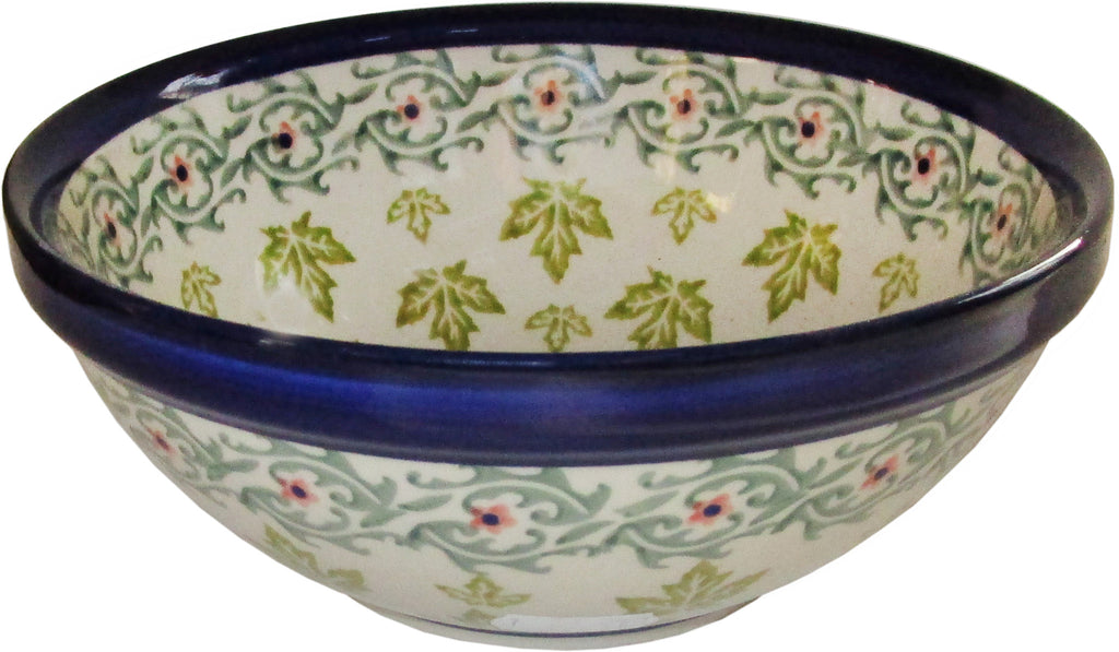 "Boleslawiec Polish Pottery UNIKAT Pasta, Soup or Serving Bowl ""Vermont"""