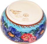 "Boleslawiec Polish Pottery UNIKAT Cereal or Chili Serving Bowl ""Blue Sky Meadow"""