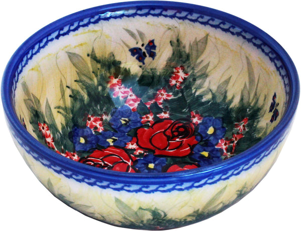 "Boleslawiec Polish Pottery UNIKAT Pasta, Soup, Serving or Mixing Bowl ""Wild Roses"""