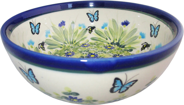 "Boleslawiec Polish Pottery UNIKAT Pasta or Soup Serving Bowl ""Serenity"""