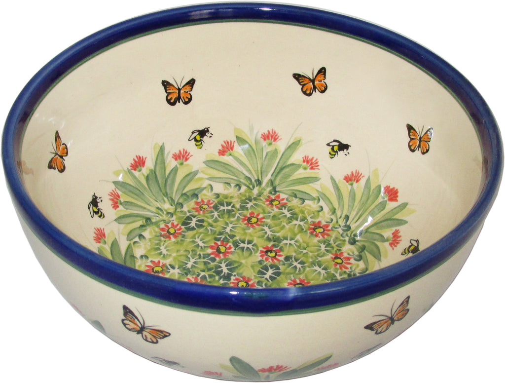 "Boleslawiec Polish Pottery UNIKAT Pasta or Soup Serving Bowl ""Spring"""