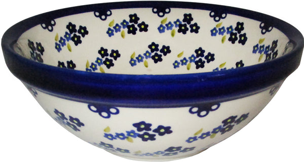 "Boleslawiec Polish Pottery UNIKAT Pasta, Soup or Serving Bowl ""Forget Me Not"""
