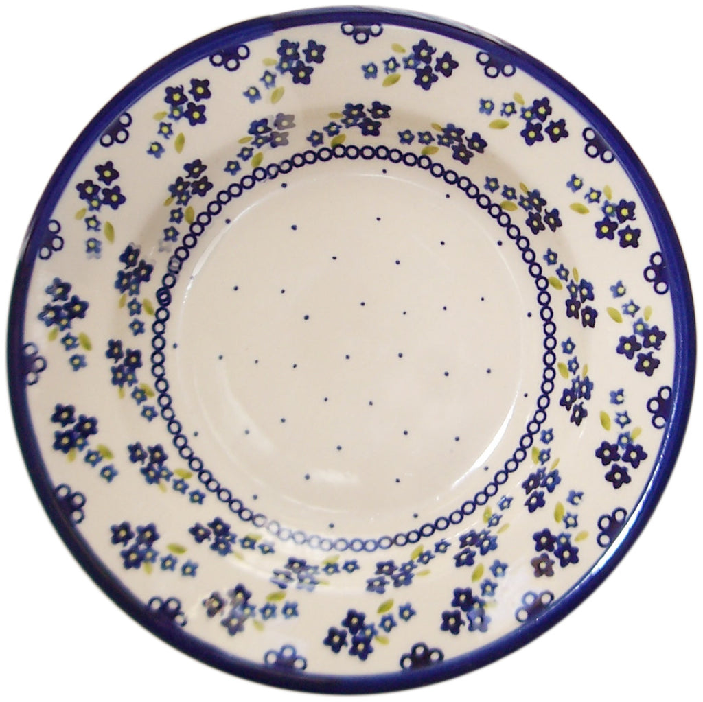 "Boleslawiec Polish Pottery UNIKAT Soup or Pasta Plate ""Forget Me Not"""