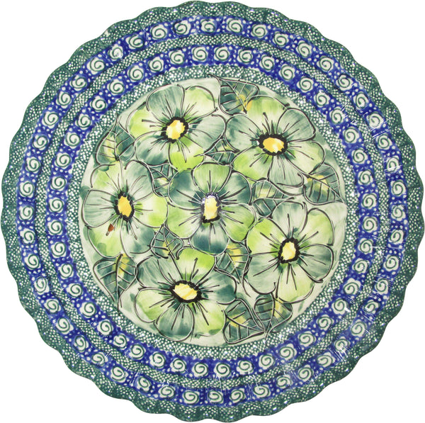 "Boleslawiec Polish Pottery UNIKAT Pie or Quiche Baker ""Green Garden"""