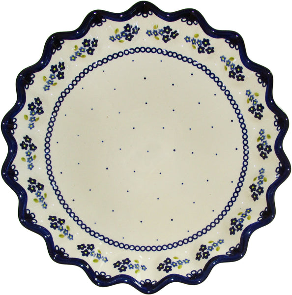 "Boleslawiec Polish Pottery UNIKAT Pie or Quiche Baker ""Forget Me Not"""