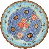 "Boleslawiec Polish Pottery UNIKAT Pie or Quiche Baker ""Blue Sky Meadow"""