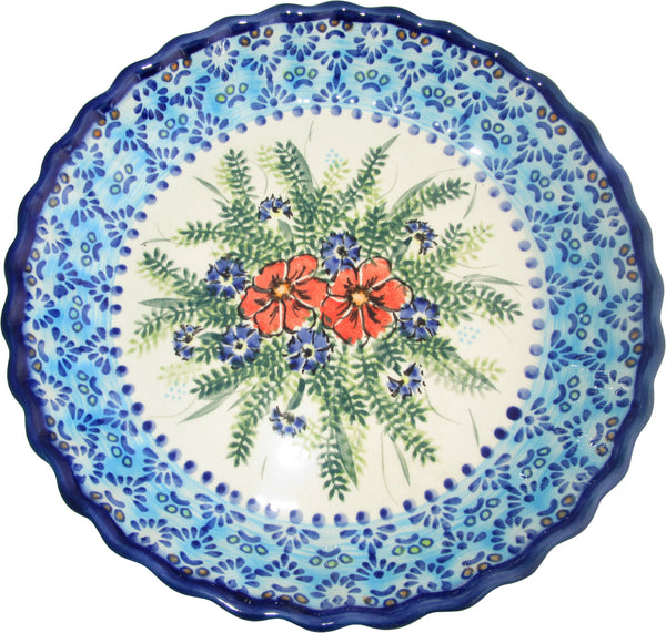 "Boleslawiec Polish Pottery UNIKAT Pie Plate or Quiche Baker ""Veronica"""