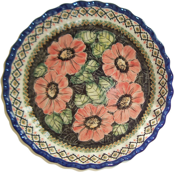 "Boleslawiec Polish Pottery UNIKAT UNIKAT Pie Plate or Quiche Baker ""Red Garden"""