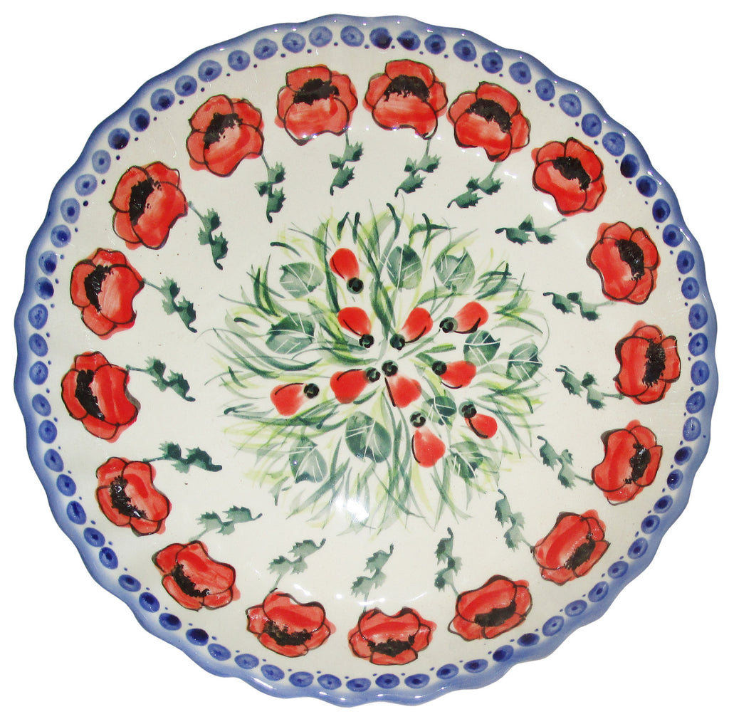"Boleslawiec Polish Pottery UNIKAT Pie Plate or Quiche Baker ""Poppy Field"""