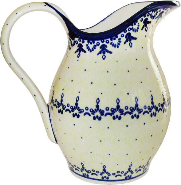 "Boleslawiec Polish Pottery UNIKAT Pitcher Water Milk Wine Jug 1.7L ""Lace"""