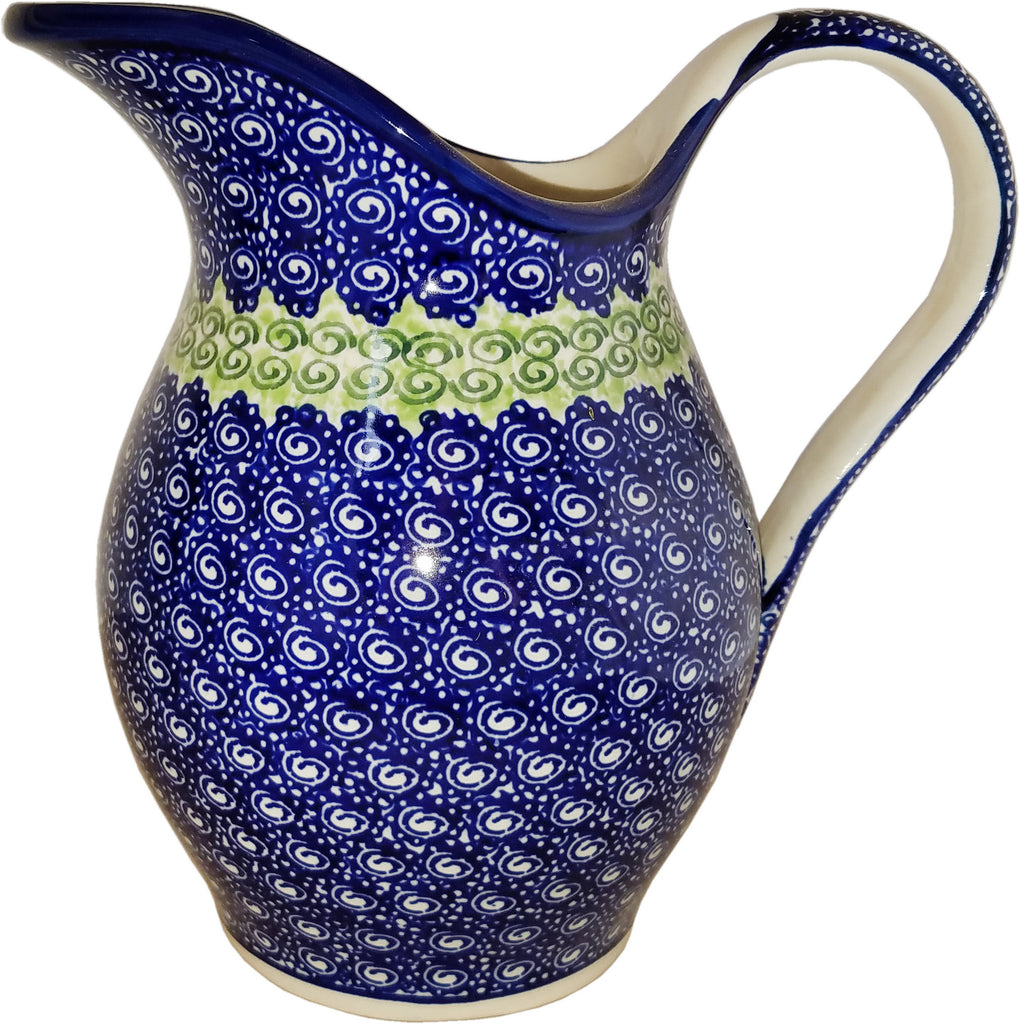 "Boleslawiec Polish Pottery UNIKAT Water Jug or Milk Pitcher 1.7L ""Alex"""