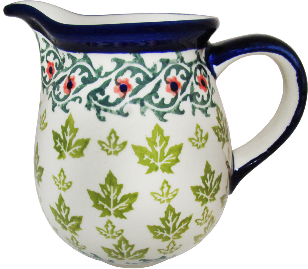 "Boleslawiec Polish Pottery UNIKAT Small Pitcher Water Jug ""Vermont"""