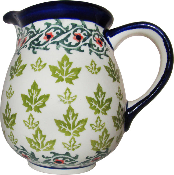 "Boleslawiec Polish Pottery UNIKAT Medium Water Pitcher Milk Jug ""Vermont"""